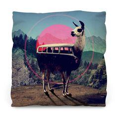 Llama Copy Outdoor Throw Pillow