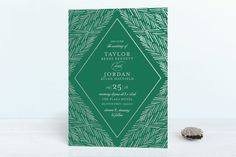 """Feathered Foliage"" - Elegant, Classical Foil-pressed Wedding Invitations in Onyx by blackberry graphics."
