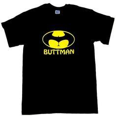 BUTTMAN Funny Batman Parody DC Comics Super Hero  Funny T-Shirt Size XL Black