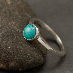 cool Turquoise Ring- Blue Stone ring- Sterling Silver Ring- Gemstone Ring