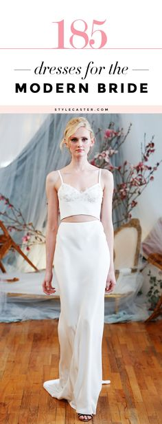 Wedding Dress Handbook: 185 Modern Bridal Looks - This amazing gallery of long-sleeve, backless, short, beaded, boxy, bodycon, and minimalist wedding ensembles (including pants, and skirts) is the ultimate inspiration for any modern bride. We adore this crop top + floor length skirt ensemble.