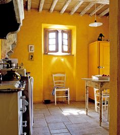 sunflower yellow for a warm rustic provençal kitchen