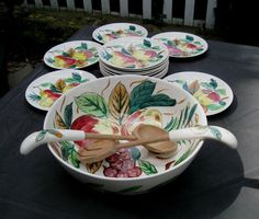 Shop for on Etsy, the place to express your creativity through the buying and selling of handmade and vintage goods. Salad Bowls, Fork, Crates, Spoon, Serving Bowls, Japan, Ceramics, Fruit, Tableware