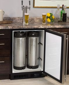 Marvel ML24BNS1RS-X2HB Kegerator Cabinet with X-CLUSIVE 2 Faucet Home Brew Keg Tapping Kit Draft Beer Dispenser Built-in | BeverageFactory.com