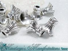 Antq Silver Finish Trupmet Flower Bead Caps 11x9mm . Starting at $5 on Tophatter.com!