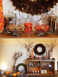 Des bonbonnières remplies de baies, épices, oranges, bonbons oranges... Un rendu efficace, tendance et de qualité !