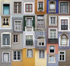 """Canvas or Poster """"exterior, traditional, buildings - lisbon windows"""" ✓ Easy Installation ✓ 365 Days Money Back Guarantee ✓ Browse other patterns from this collection!"""