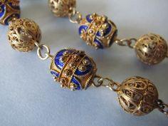 Vtg-Sterling-Silver-Blue-Enamel-Filigree-Bead-Portugal-Portuguese-Necklace $183