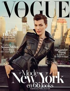 Milla Jovovich goes biker chic and shows off her hourglass figure for the cover of Feb 2013 #Vogue #Paris.