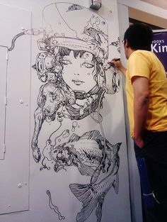 Kinokuniya USA: Katsuya Terada just finished his freehand drawing at our SF Store! Impressive!! ‪#‎katsuyaterada‬ ‪#‎manga‬