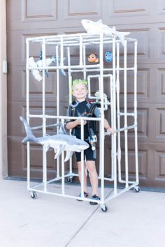 Homemade Halloween Costumes for Boys: A Shark Cage on Wheels