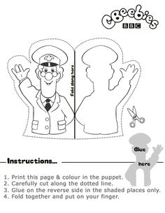 Black and white print out of Postman Pat Finger Puppet