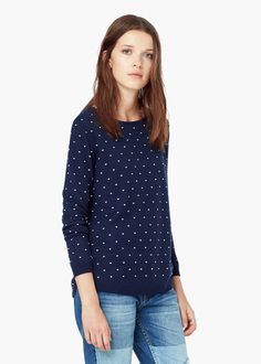 Polka-dot pattern sweater - Cardigans and sweaters for Women | MANGO