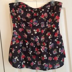 Peplum top. Floral peplum top. Strapless and fitted at the waist before flaring at the bottom. American Eagle Outfitters Tops Blouses