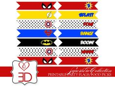 superhero party food ideas | Superhero Collection - Printable Party Flags or Food ... | Party Ideas