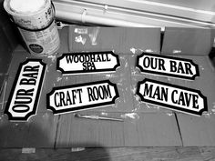A new batch of black and white vintage street signs ready for their new homes #vintage #streetsign #barsign