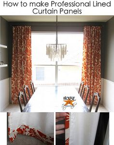 """DIY instructions on making lined curtains--using flat sheets as the """"liner"""" layer. Could maybe use this idea to line pre-made curtains?"""