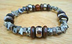 Men's Tribal Bracelet with Semi Precious Dalmatian by tocijewelry
