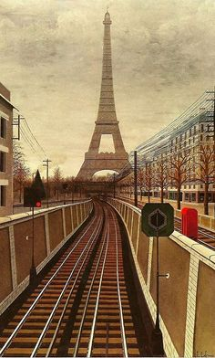 Le metro aerien by Jules Lefranc #Paris #France [How many times do you see the Eiffel Tower from this angle?  #RTNF]