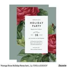 Vintage Rose Holiday Party Invitation This classic holiday party design features red vintage roses against a contrasting background.