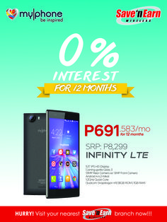 Get the MYPHONE INFINITY LTE with its Android KitKat OS, Quad-Core processor, 13MP back camera with 5MP front camera at only P691.583/month!