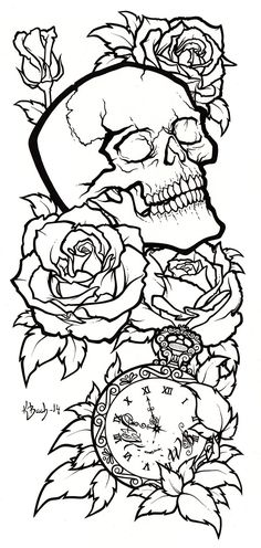Skull Tattoo Design Lineart by BlueUndine.deviantart.com on @DeviantArt