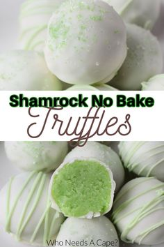 These Shamrock No-Bake Cake Batter Truffles are just perfect for St. Patrick's Day celebrations! Everyone loves these bite-sized no-bake balls! #truffles #nobakecakebattertruffles #stpatricksdaydessert Best Dessert Recipes, Candy Recipes, Sweet Recipes, Snack Recipes, Snacks, No Bake Truffles, Cake Batter Truffles, Holiday Desserts, Fun Desserts