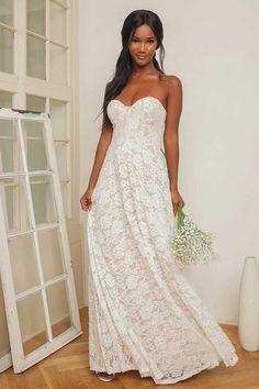 Long White Maxi Dress, Maxi Dress With Sleeves, Strapless Dress Formal, Strapless Maxi, Formal Gowns, Dress Long, Lulus Wedding Dress, Casual Lace Wedding Dress, Casual Wedding