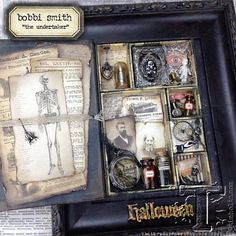 The Undertaker - Tim Holtz Mini Configurations Book Halloween - Found on Vintage Muse Designs Halloween Shadow Box, Halloween Tags, Vintage Halloween, Fall Halloween, Halloween Books, Halloween Stuff, Happy Halloween, Halloween Paper Crafts, Halloween Projects