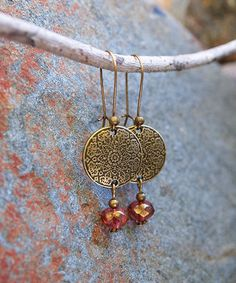 Another great find on #zulily! Bronzetone Beaded Medallion Drop Earrings #zulilyfinds