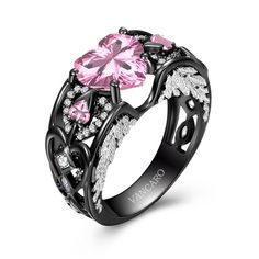 VANCARO has various of black rings including black promise rings, black engagement rings, black wedding rings and more. Shop unique designer black rings for women at affordable price here. Black Wedding Rings, Gold Wedding Jewelry, Black Gold Jewelry, Wedding Rings For Women, Black Rings, Wedding Ring Bands, Purple Rings, Ruby Jewelry, Amethyst Jewelry
