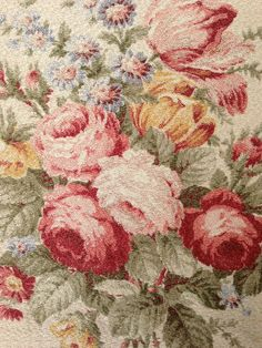 Gorgeous! Vintage Barkcloth Nubby Roses Drapery Panel with lining