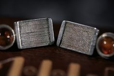 Silver filigree modern stud earrings with Baltic by MIWunique