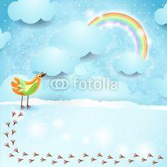 #Sky background with bird #vector #stockimage