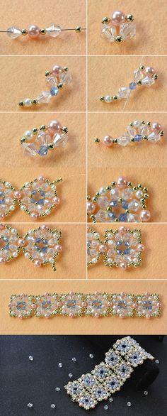 PAP d bracelete ou coleira, entrelaçado c miçangas e cristais