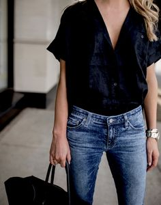 short sleeve top + jeans