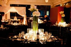 Calla Lily and hydrangea centerpiece.  Navy & Black wedding.  Photograph by Ruven of Allure Photography.