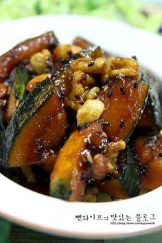 입에 살살 녹는 견과류 단호박조림 : 네이버 블로그 Cooking Recipes For Dinner, No Cook Meals, Easy Cooking, Korean Side Dishes, K Food, Food Menu, Food Design, Banchan Recipe, Asian Recipes