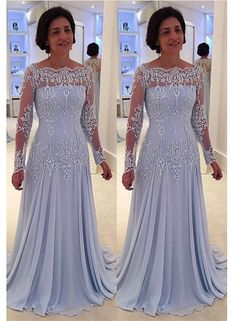 1ea6ee3da6 A-line Elegant Lace Long-Sleeve Mother-the-bride Dress