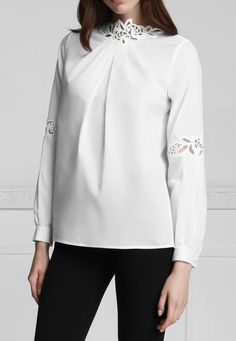 Embroidered Neckline and Sleeve Blouse: Silvine | Anne Fontaine Tops