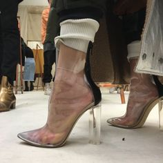 Shoes: ankle boots, yeezy, yeezus, yeezy shoes, kim kardashian, kendall and kylie jenner, kylie jenner, kendall jenner, boots, instagram, india westbrooks, transparentshoes, mid heel boots, see through, transparent, high heels, transparent boots - Wheretoget