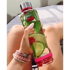 Pin for Later: 10 Ways to DIY the Best Fruit Water Ever Lime, Raspberry, and Mint Fresh mint can help curb cravings and aid in digestion, and pairing with raspberries and lime makes for a delicious mixture. Fruit Water Recipes, Infused Water Recipes, Fruit Infused Water, Summer Drinks, Fun Drinks, Healthy Drinks, Beverages, Cocktail Drinks, Smoothie Drinks