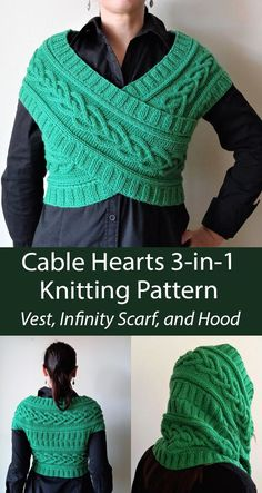 3-in-1 Heart Cable Vest Knitting Pattern Versatile garment that can be worn as a cross vest, infinity scarf, or hooded cowl, knit with heart cables. Designed by ElegantEyelets. DK weight yarn.