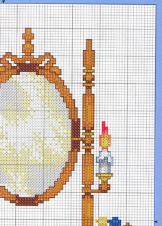 Wood Vanity of Counted Cross Stitch Patterns, Cross Stitch Designs, Cottage Interiors, Stitch 2, Needlework, Diy And Crafts, Embroidery, Wood Vanity, Dollhouses