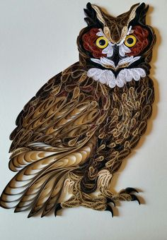 Quilled Great Horned Owl - 11x14 by artist Stacy Lash Bettencourt of Mainely Quilling in Jefferson, Maine.