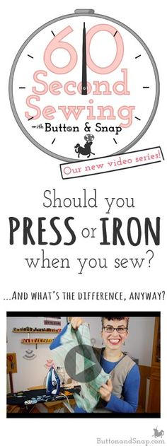 Ironing vs Pressing - 60 Second Sewing Quilting Tutorials, Iron, Quilts, Sewing, Tips, Comforters, Dressmaking, Couture, Patch Quilt