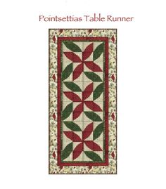 (7) Name: 'Quilting : Christmas Poinsettias Table Runner