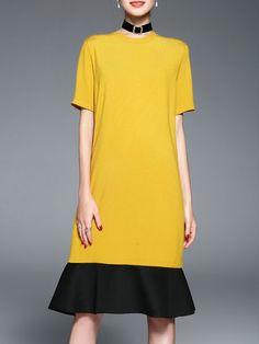 YIYIQI Solid Color-block Simple Flounce Crew Neck Midi Dress