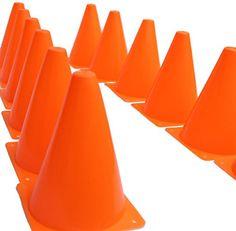 """7 Inch Plastic Traffic Cones - 12 Pack of 7"""" Multipurpose..."""