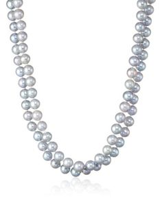 Dyed Silver Grey Potato Freshwater Cultured Pearls Endless Necklace 48 *** Click image for more details.